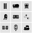 black railroad icon set vector image