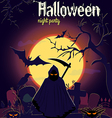 Halloween reaper and other characters on old cemet vector image