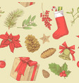 holly christmas vintage seamless pattern vector image