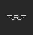 Monogra letter R logo wings flying abstract vector image
