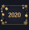 2020 golden numbers with snowflakes vector image