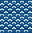 art deco flowers on classic blue pattern vector image vector image