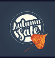 autumn sale banner with patch on denim background vector image