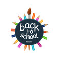 back to school icon with pencils and paint brush vector image