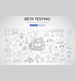beta testing concept with business doodle design vector image