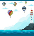 blue sea with hot air balloons and lighthouse vector image