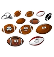 Cartoon footballs and rugby balls characters vector image vector image