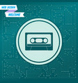 cassette icon on a green background with arrows vector image