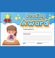 certificate template for reading award with girl