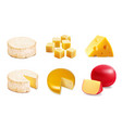 cheese types icons of various kind of cheese vector image vector image
