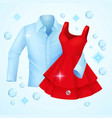 clean clothes washed blue shirt and red dress vector image