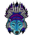 colored wolf with feathers hat vector image vector image