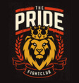 emblem design with lion in crown vector image vector image