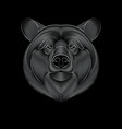 engraving stylized silver bear on black vector image