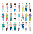 female and male doctors and nurses vector image vector image