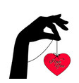 female hand holding on palm a red heart vector image