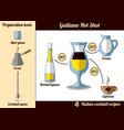 galliano hot shot cocktail infographic set recipe vector image vector image