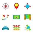 GPS icons set cartoon style vector image vector image