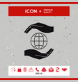 hands holding earth - protect icon vector image