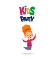 happy cute girl jumping for joy kids party on vector image vector image