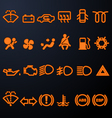 Illuminated car dashboard icons vector image vector image
