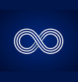 infinity line symbol on blue background vector image vector image