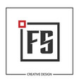 initial letter fs logo template design vector image