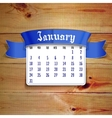 january 2016 calendar template vector image vector image
