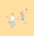 jumping people selfie couple leisure concept vector image vector image