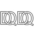 logo qd dq icon sign two interlaced letters q d vector image vector image