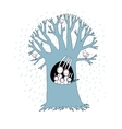 Magic Tree and cute rabbits vector image