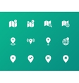 Map icons on green background GPS and Navigation vector image vector image