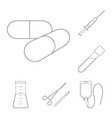 medicine and treatment outline icons in set vector image