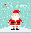 merry christmas santa claus on snowdrift happy vector image vector image