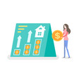 person standing with coin money and house vector image vector image