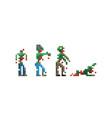 pixel game zombies vector image