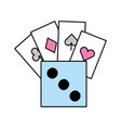 poker cards with dice vector image vector image