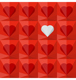 Red crystal hearts with one different vector image vector image