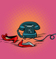 retro phone and womens red shoes vector image
