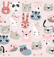 seamless childish pattern with funny animals faces vector image