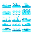 seamless gradient blue water wave tiles set vector image vector image