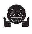 showing ok emoji black concept icon vector image