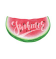 slice watermelon with lettering happy summer vector image vector image