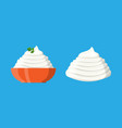 sour cream sauce or mayonnaise with green parsley vector image