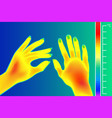 thermal imager human hands the image of arms vector image vector image