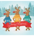 three deer on background winter forest vector image