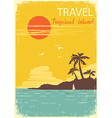 tropical island paradise summer sun poster vector image vector image