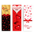vertical banners for valentines day golden red vector image vector image