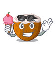 with ice cream cartoon delicious ripe coconuts for vector image