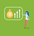 woman showing ways of increasing financial growth vector image vector image
